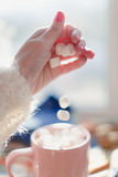 Kubek z marshmallows, fotografia stock