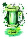 Kubek zielony piwo, graficzne sztuki ilustracji