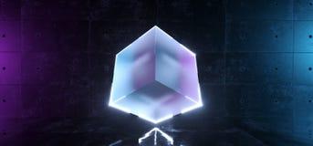 Kuben Sci Fi anmärker den moderna futuristiska för frostat exponeringsglas Shape med glödande ledde vita kanter i konkret reflekt stock illustrationer