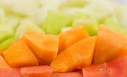 Kuben storleksanpassade melon, honungsdagg IX arkivfoto