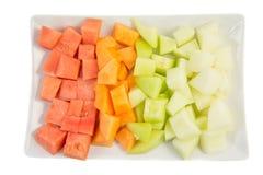 Kuben storleksanpassade melon- och honungsdaggdropp Arkivbild