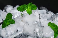 Kuber av is från vatten med mintkaramellsidor på en svart bakgrund arkivbild