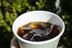 Kuber av stor is från ett exponeringsglas med starkt kaffe Alternativ kall brygdkaffedrink Lek av färg och lappar av ljus arkivbilder