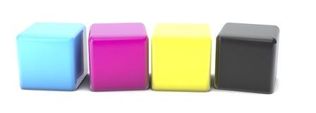kuber 3D med CMYK-färger Stock Illustrationer
