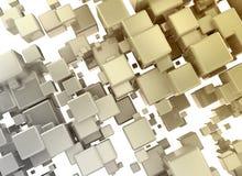 kuber för textur 3d för abstrakt begrepp 3d orange guld- Royaltyfri Foto