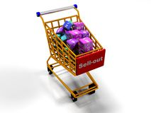 Kuber med procent i shoppingspårvagnen, 3d framför Royaltyfri Fotografi