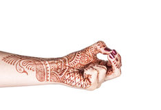 Kubera mudra with henna Stock Photography