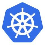 Kubernetes emblem white helm on blue back vector illustration