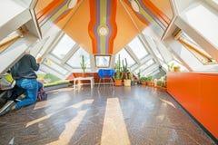 Kubhus av Rotterdam den unika färger och designen Royaltyfri Foto