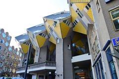 Kubhus, uppsättning av innovativa hus i Rotterdam Royaltyfri Bild