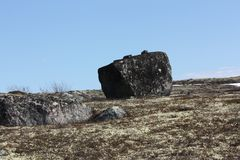 Kubiczny kamień w tundrze zdjęcia royalty free