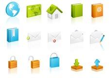 kubicznych ikony internetów ustalona strona internetowa ilustracja wektor
