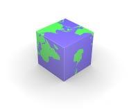 Kubiek de kubusvierkant van de bolAarde Stock Fotografie