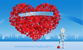 Kubiek hart voor de Dag van de Valentijnskaart Stock Afbeeldingen