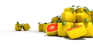 Kubieke grapefruit stock illustratie