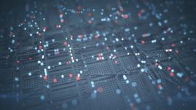 Kubieke matrijs van de grote 3D teruggevende illustratie van de gegevensstroom stock illustratie