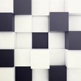 Kubieke witte en zwarte achtergrond 3D Illustratie Royalty-vrije Stock Afbeeldingen