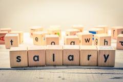 Kubik för ` för ord`-lön wood på trät arkivfoto