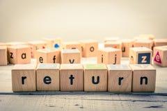 Kubik för ` för ord`-retur wood på trät arkivbild