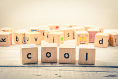 Kubik för kall ` för ord` wood på trät royaltyfri foto