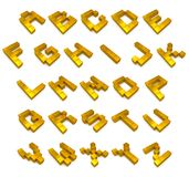 Kubikgoldenes des Alphabetes 3d vektor abbildung