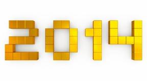 Kubikgoldenes des Jahres 2014 vektor abbildung