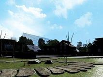 Kubikhus i trädgård Arkivfoton