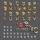 Kubikstilsorts-, symbol- och symbolsuppsättning Arkivfoton