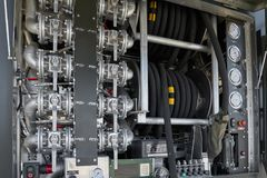 KUBINKA, ΡΩΣΙΑ, Ο ΑΎΓΟΥΣΤΟΣ 24, 2018: Η άποψη σχετικά με τη βενζίνη και το diesel τροφοδοτούν με καύσιμα το ταμπλό διανομέων με τ στοκ εικόνες