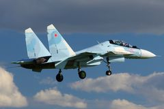 Sukhoi SU-30SM 15 RED jet fighter of russian air force landing at Kubinka air force base during Army-2015 forum stock photography