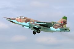 Sukhoi SU-25SM RF-92261 of russian air force takes off at Kubinka air force base. Kubinka, Moscow Region, Russia - June 20, 2015: Sukhoi SU-25SM RF-92261 of Royalty Free Stock Photos