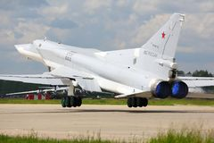 Tupolev Tu-22M3 RF-94142 bomber of russian air force takes off at Kubinka air force base. royalty free stock images