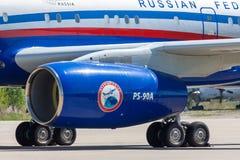 Kubinka, Moskwa region, Rosja - 05/12/2018: Rosyjski lotniczej inwigilaci samolotu Tu-214ON Tupolev zdjęcie stock