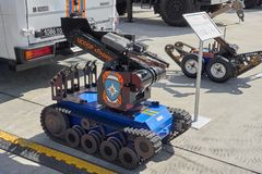 KUBINKA, RUSSIA, AUG.24, 2018: Special remote control sapper robot on tracks with manipulator arm for MChS, police, military, fire stock image