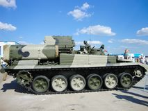 Museum of armored vehicles under the open sky and under sheds in Kubinka near Moscow stock photo