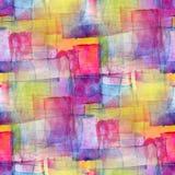 Kubismus-Zusammenfassungsaquarell des Künstlers nahtloses blaues Stockfoto