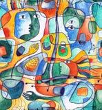 Kubistyczny bezszwowy wzór z liniami i twarzami malował w akwareli ilustracja wektor