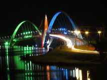 Kubitschek Bridge at night with colored lighting Stock Photos