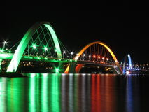 Kubitschek Bridge reflected in the lake at night w Royalty Free Stock Images