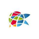 Kubizm sztuki logotyp, kolorowy witrażu okno szablon Odosobniony abstrakcjonistyczny dekoracyjny logo, obszarpujący projekta elem royalty ilustracja