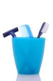 kubki grzebieniowy golarki szczoteczkę do zębów Obraz Stock