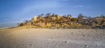 Kubu Island, Botswana. Kubu Island with baobabs and rocks, Botswana, Africa Royalty Free Stock Photography