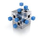Kubus die van blokken assembleert Royalty-vrije Stock Afbeelding