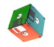 Kubus die van diskettes wordt gemaakt Royalty-vrije Stock Foto