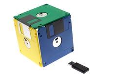 Kubus die van diskettes wordt gemaakt Stock Afbeelding