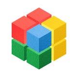 Kubus isometrische kleurrijk Stock Foto's