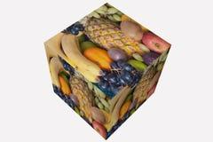 Kubus met divers fruit stock afbeelding