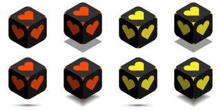 Kubus met hart in oranje en gele kleuren Royalty-vrije Stock Foto's
