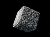Kubus met uitgedreven oppervlakte op zwarte stock illustratie