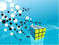 Kubus op abstracte achtergrond Royalty-vrije Stock Afbeelding